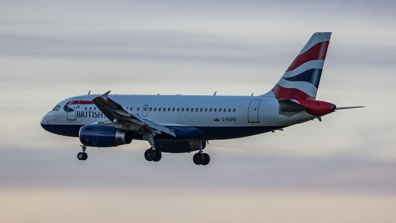 British Airways - Airbus A319-131 (G-EUPD) - Edinburgh Airport (January 2020)