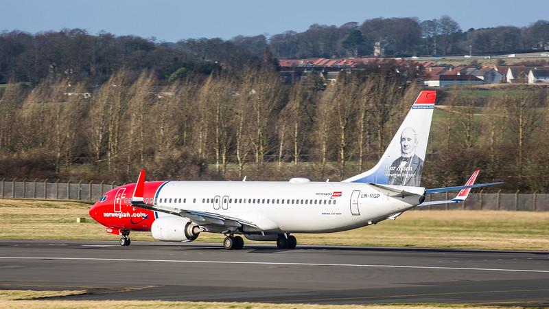 Norwegian Airways (Ivar Aasen Livery) - Boeing 737-8JP (LN-NGP) - Edinburgh Airport (February 2020)