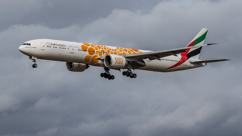Emirates (Expo 2020 - Opportunity Livery)  - Boeing 777-31H(ER) (A6-ENM) - Edinburgh Airport (March 2020)
