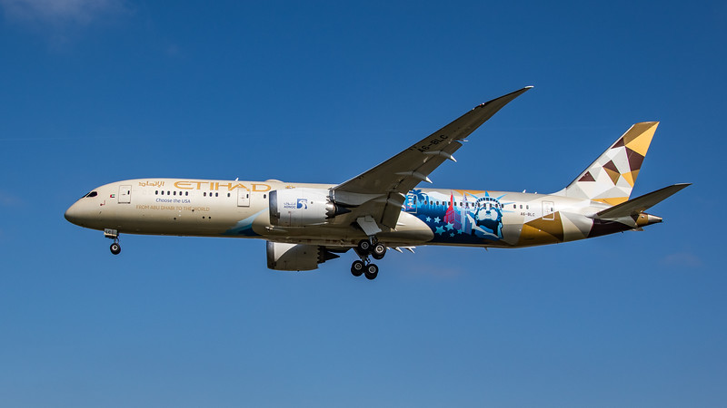 Etihad (ADNOC - Choose the USA Livery)  - Boeing 787-9 Dreamliner (A6-BLC) - Heathrow Airport (April 2021)