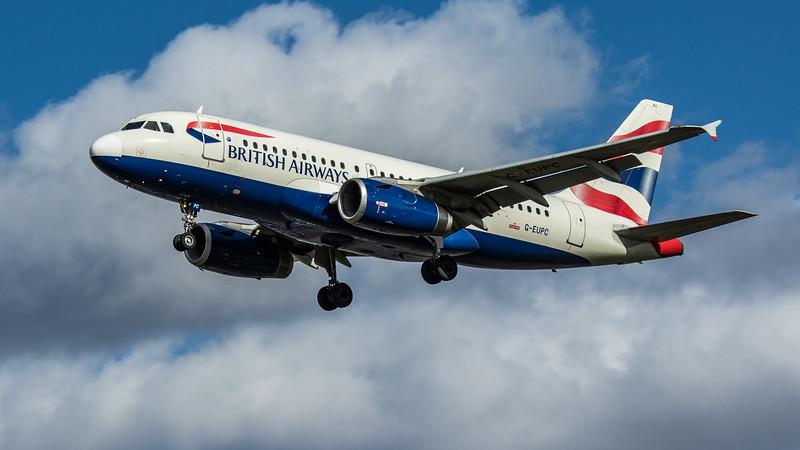 British Airways - Airbus A319-131 (G-EUPC) - Heathrow Airport (March 2020)