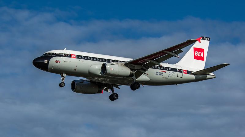 British Airways (BEA Retro Livery) - Airbus A319-131 (G-EUPJ) - Heathrow Airport (February 2020)