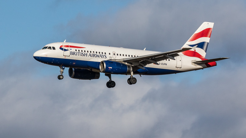 British Airways - Airbus A319-131 (G-EUPN) - Edinburgh Airport (February 2020)