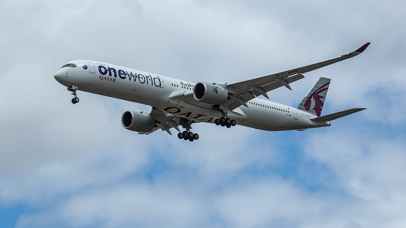 "Qatar Airways ""Oneworld Livery"" - Airbus A350-1041 (A7-ANE) - Heathrow Airport (June 2020)"