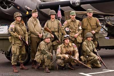 WWII re-enactors in front of the C-53 Skytrooper