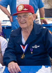 LtCol Bob Barney, USAF (Ret.), Age 88, WWII veteran who served with the 385th Bomb Group of the US 8th Air Force.  He was shot down on April 29th 1944 and escaped from the Germans three times, but was recaptured each time.