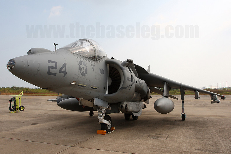 AV-8B Harrier 164148/CF-24 on the ramp at Royal Thai Navy Base U-Tapao, Thailand showing the original nose with the Angle Rate Bombing System and FLIR hoursing on the top.