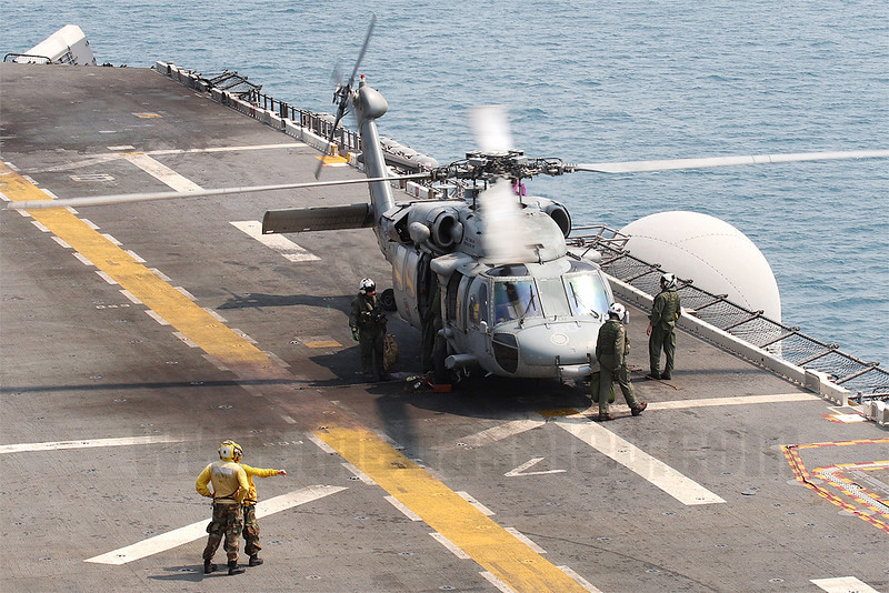 "This is one of two MH-60S Knighthawks of HSC-25 ""Island Knights"" detached on board the Essex."