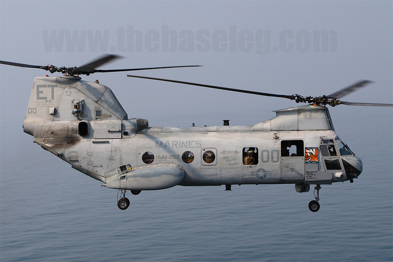 HMM-262 (Rein) CH-46E Sea Knight 153365/ET-00 takes off.