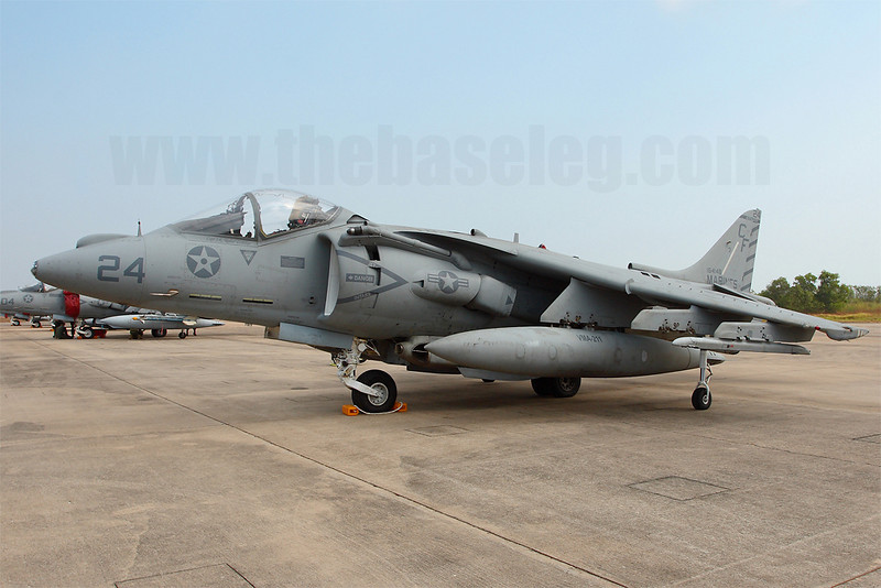 VMA-211 Wake Island Avengers AV-8B Harrier 164148/CF-24 on the ramp at Royal Thai Navy Base U-Tapao, Thailand. This is one of two Harriers without the radar deployed by VMA-211 for the exercise.