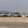 A lineup of VMA-211 Wake Island Avengers AV-8B Harriers on the ramp at Royal Thai Navy Base U-Tapao, Thailand.
