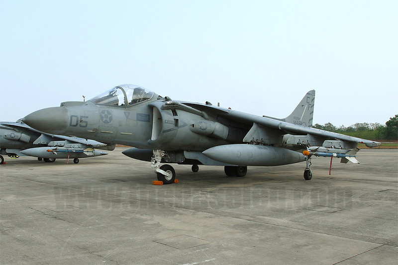 AV-8B Harrier 165568/CF-05 on the ramp at Royal Thai Navy Base U-Tapao, Thailand. This is one of six radar-equipped AV-8B Harrier II+ the squadron deployed for the exercise.