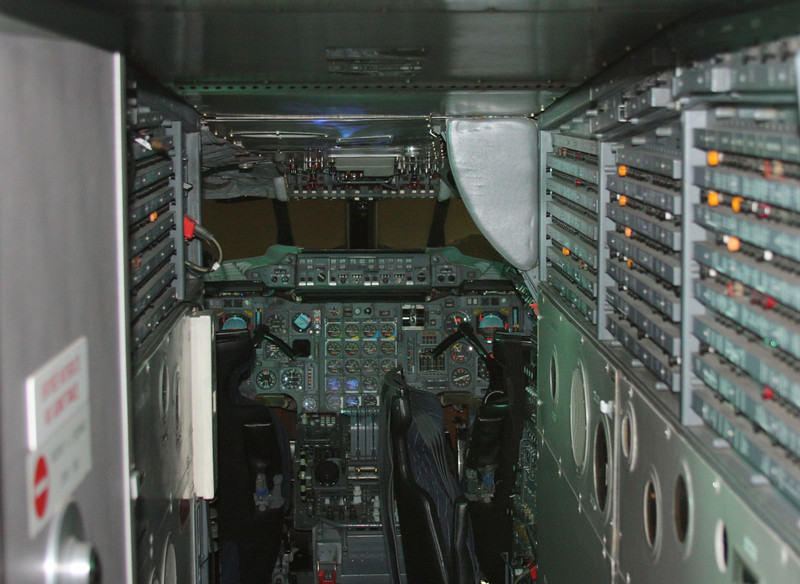 F-BTSD Cockpit, the autopilot controls up on the glareshield compared with the prototype.