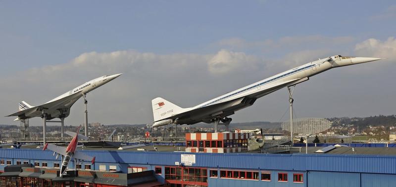 Air France Concorde F-BVFB & Tupolev Tu-144 ('Kondordski') CCCP 77112, Sinsheim Auto & Technik Museum, Germany, 21 March 2013