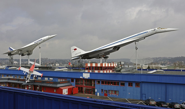 Air France Concorde F-BVFB, L-39 Albatros & Tupolev Tu-144 ('Kondordski') CCCP 77112, Sinsheim Auto & Technik Museum, Germany, 21 March 2013.  The extraordinary sight of two supersonic transports on the museum roof.  It took some clever cranage to put them there!