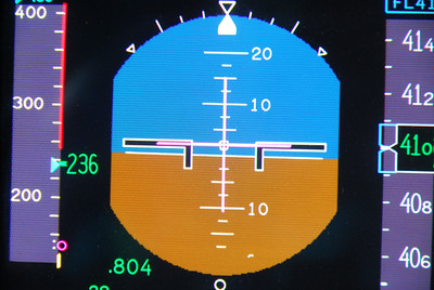 Collins primary flight display in Falcon 2000.