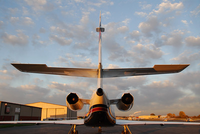 Dassault Falcon 2000 Tail Section highlighted by a fall sunrise in Lawrence, Kansas, USA.