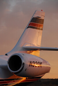 Dassault Falcon 2000 Tail highlighted by a fall sunrise in Lawrence, Kansas, USA.