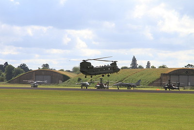 RAF Boeing CH-47 Chinook ZA713 landing on the far side of the airfield - 14/06/15.