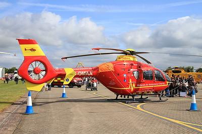 Midlands Air Ambulance Eurocopter EC135 G-OMAA on static display - 14/06/15.
