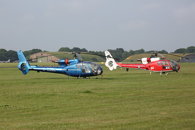 ex-AAC Westland Gazelle AH.1, XW885 / G-ZZEL & ex-FAA Westland Gazelle HT.2, XX436 / G-ZZLE, on the flight line - 10/06/18