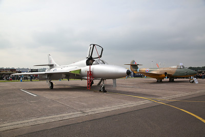 ex-RAF Hawker Hunter T.7, XL573 / G-BVGH & Gloster F.9/40 Meteor Prototype, DG202/G / 5758M, on static display - 10/06/18