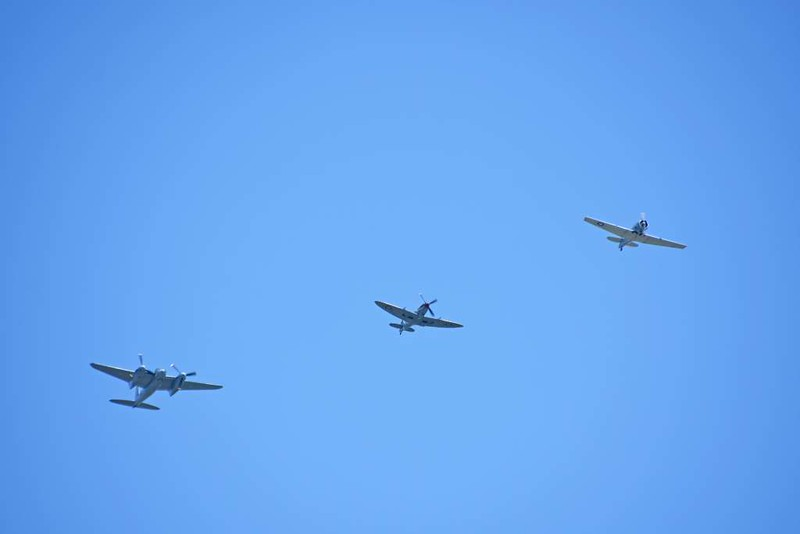de Havilland DH.98 Mosquito FB.26 KA114 / EG-Y, Military Aviation Museum, Virginia Veach, Virginia, 19 May 2017 2.  In formation with Spitfire MJ17? / GZ-? and T-6G Texan N3HG.