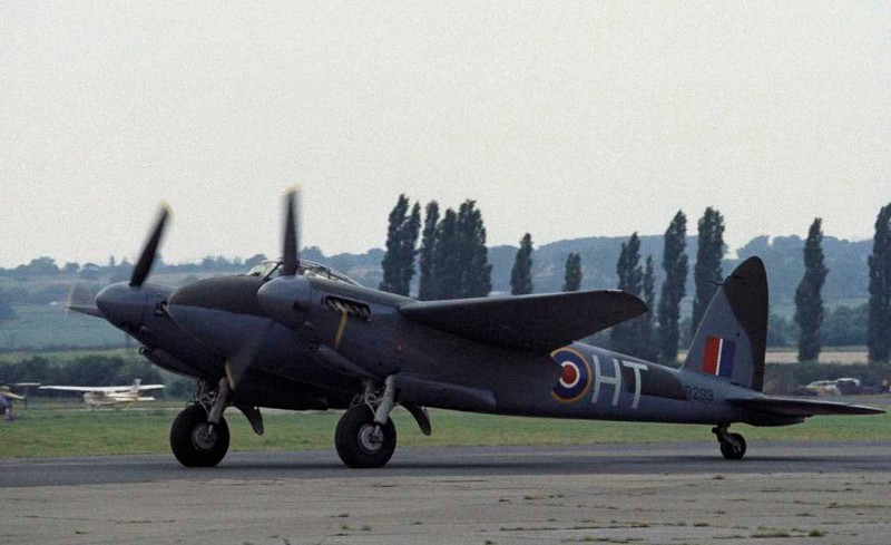 de Havilland DH.98 Mosquito T.3 RR299 / HT-E, North Weald, 1 July 1984 1.  For many years this was the only airworthy Mosquito in the world.  Tragically, it was lost in a fatal accident near Manchester in 1996, since when no Mosquito has flown in Britain.  Here are six shots of it at North Weald.