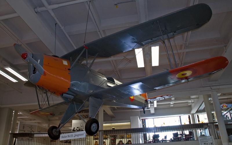 Buchmann Bu-131 Jungmann trainer, Deutsches Museum, Munich, 16 June 2006.  Wearing Spanish markings.