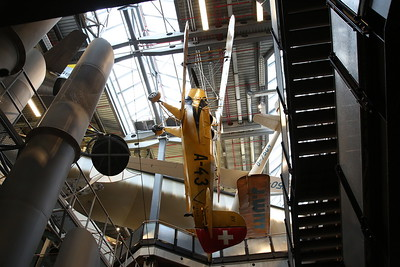 ex-Swiss air Force Bücker Jungmann Bü.131B, A-43 / D-EBAD, suspended from the ceiling, Deutsches Technikmuseum, Berlin - 05/03/17.
