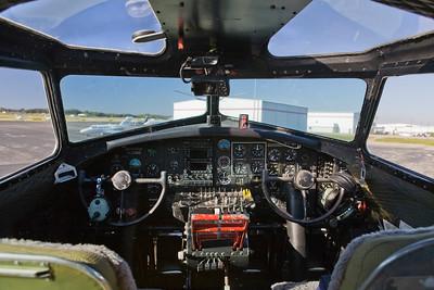 Photo taken October 15, 2008.  B-17 'Aluminum Overcast' cockpit at Knoxville, TN.