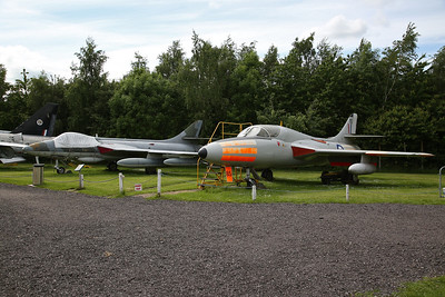 Hawker Hunter FR.10, XJ714, actually a composite of around 6 aircraft to represent an FR.10, none of which survived & ex-RAF Hawker Hunter T.7, 2-seat trainer, XL569 - 03/06/17.