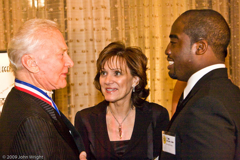 L to R: Buzz Aldrin, unknown, Barrington Irving