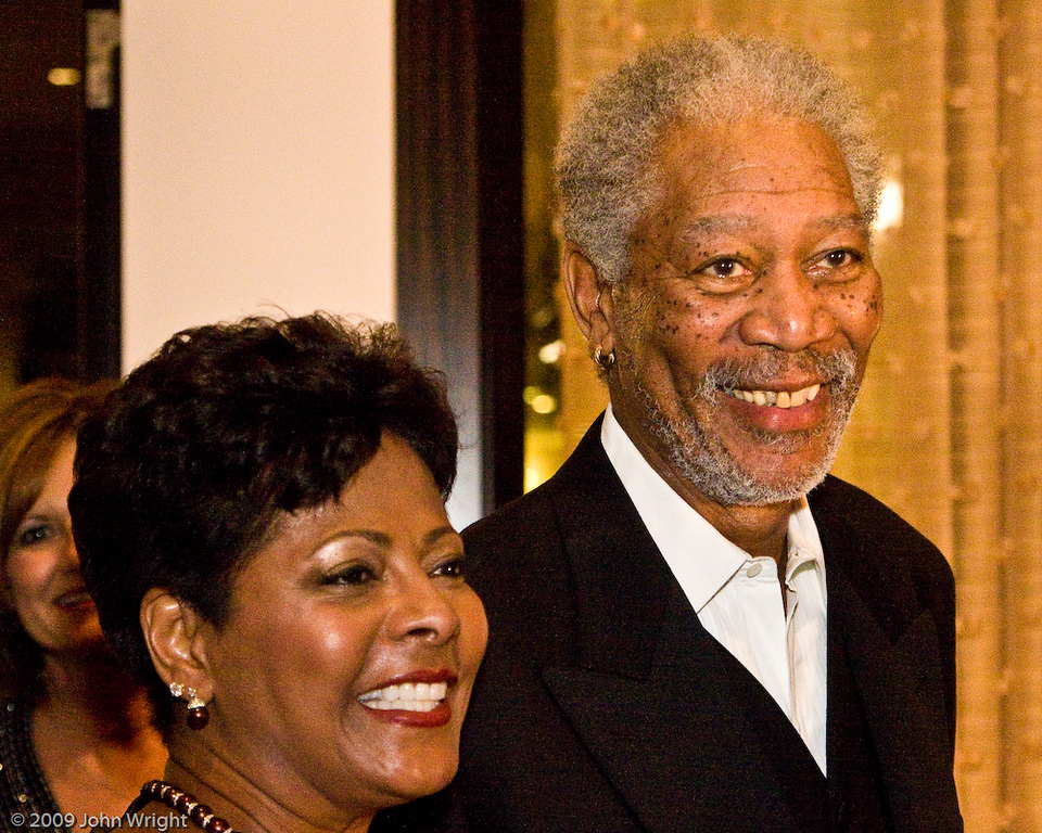 Morgan Freeman and unidentified guest