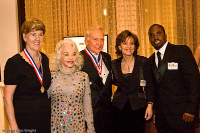 Left to right: emily Howell Warner, Lois Aldrin, Buzz Aldrin, unknown, Barrington Irving.