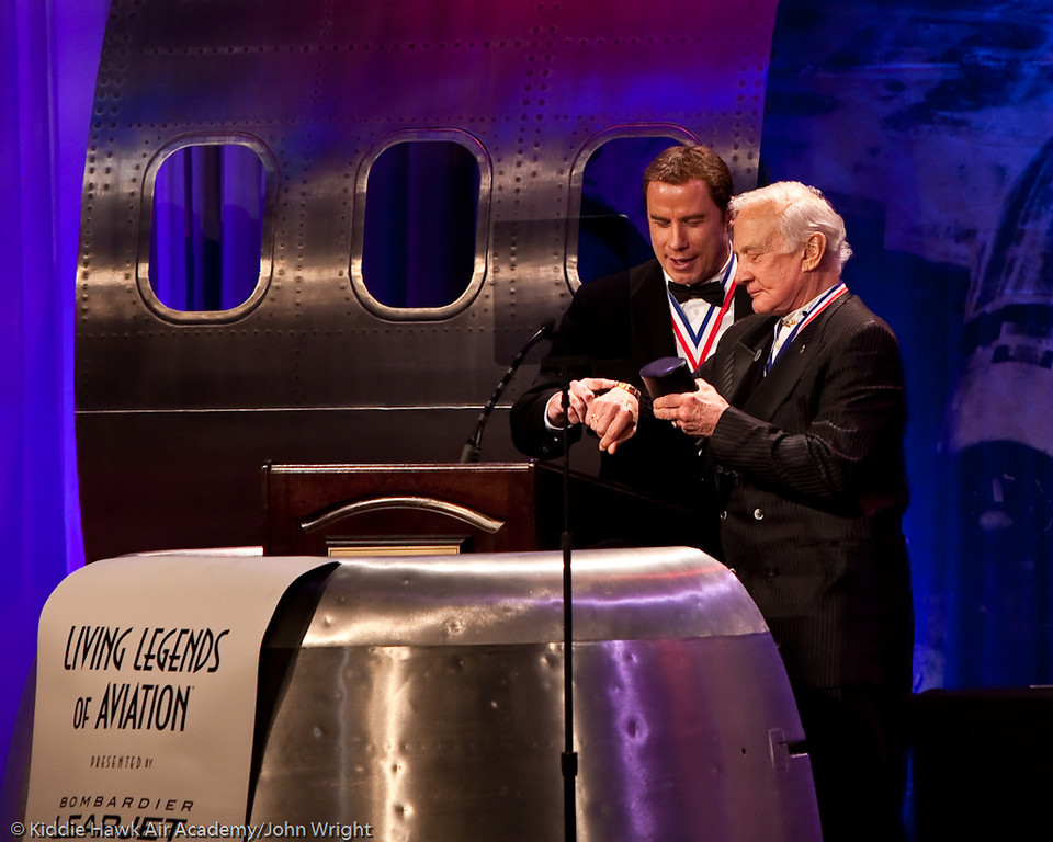John Travolta and Buzz Aldrin