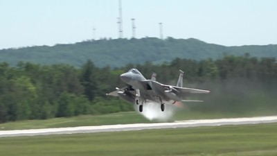 Four F-15 Eagles taking off - Clip0005 & Clip0006