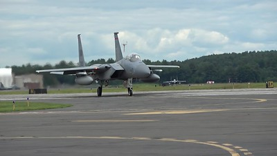 Four F-15s taxiing and taking off incl. one from the 142th Fighter Wing