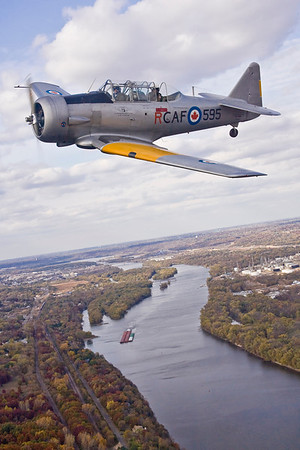 The CAF Harvard, over the Mississippi River south of St Paul.