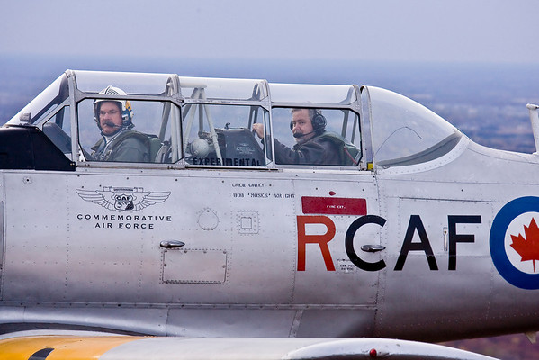 The CAF Harvard, piloted by Tim Barzen, with photographer Max Haynes in the back seat.  Max used the Harvard as his photo platform for the day's second flight.