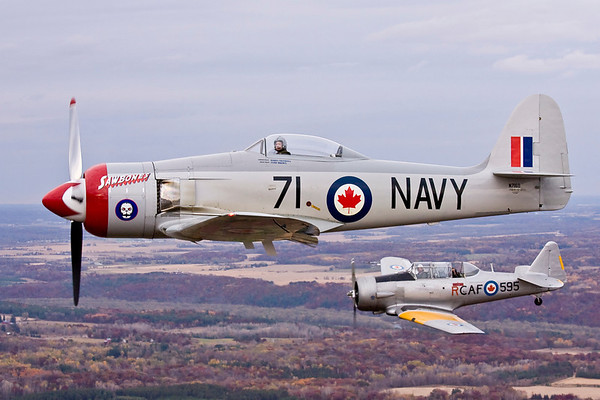 The Sea Fury and CAF Harvard (background) in formation with the B-25.  Max is in the back seat of the Harvard.