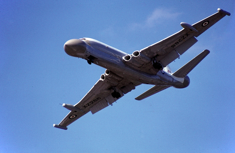 BAe Nimrod AEW3 XZ286, Farnborough airshow, September 1980.  Part of the doomed project to replace the  Shackleton Airborne Early Warning fleet with converted Comets.  The £1 billion project was cancelled in 1986 and Boeing E-3 Sentries bought instead.  XZ286 was the only Nimrod AEW3 ever to fly, and this is my only photo.