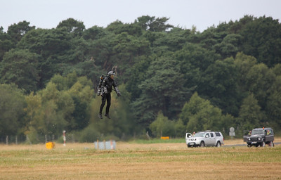 Richard Browning aka 'Iron Man' in his Gravity Industries 'Daedalus Mark 1', flight suit that uses six miniature jet engines to achieve vertical flight - 22/07/18
