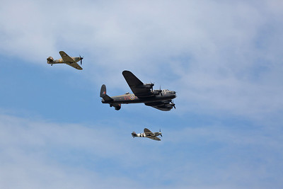 RAF BBMF Avro 683 Lancaster MK.1, PA474 flypast with Hawker Hurricane Mk.IIc, LF363 & Supermarine Spitfire LF Mk.Vb, AB910 / FS-H - 22/07/18