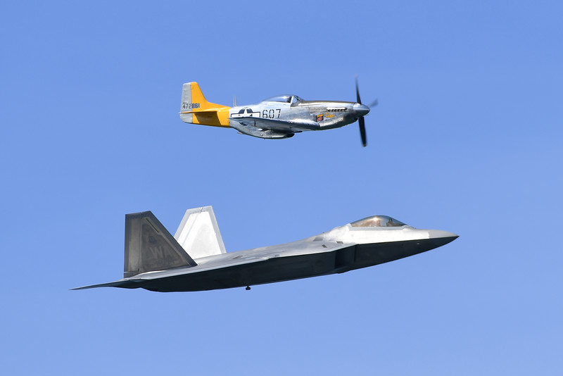F-22A and P-51 - SF Fleet Week 2016