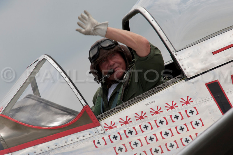"""""""Rob Davies"""" the pilot of the P-51 Mustang """"Big Beautiful Doll"""" who had to bail out at the end of the day after he was hit by a """"Skyraider"""" during the break-up of the Balboa"""
