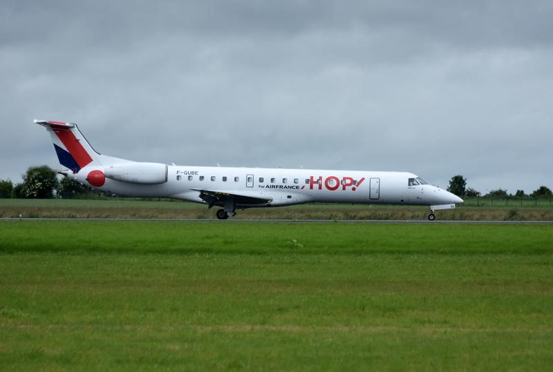 Hop! Embraer 145 F-GUBE, Carpiquet airport, Caen, 7 June 2019.