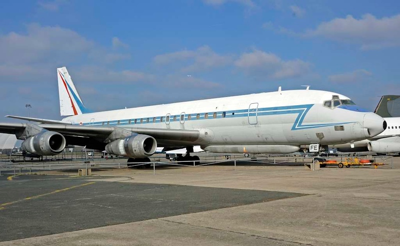 Douglas DC-8 F-RAFE, Musee de l'Air et de l'Espace, Le Bourget, Paris, 6 February 2015 1.  French AF electronic warfare aircraft. 556 DC-8s were built, but only five have been preserved. This is the only one in Europe.