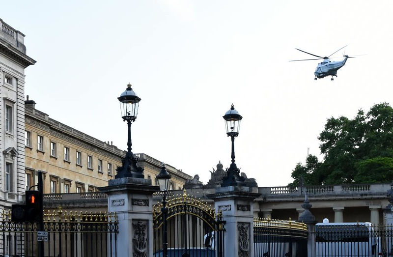 US Marine Corps Sikorsky VH-3D Sea King 159356, approaching Buckingham Palace, London, 3 June 2019 2.  One of these Sea Kings was carrying President Trump to the Queen's state banquet; both landed in the palace grounds.