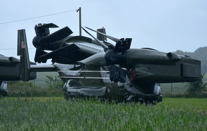 Folded US Marine Corps Bell Boeing MV-22 Osprey tiltrotor 10, Carpiquet airport, Caen, 7 June 2019 1.